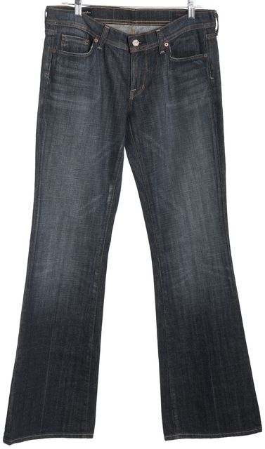 CITIZENS OF HUMANITY Blue Stretch Denim Ingrid #002 Low Waist Flare Jeans