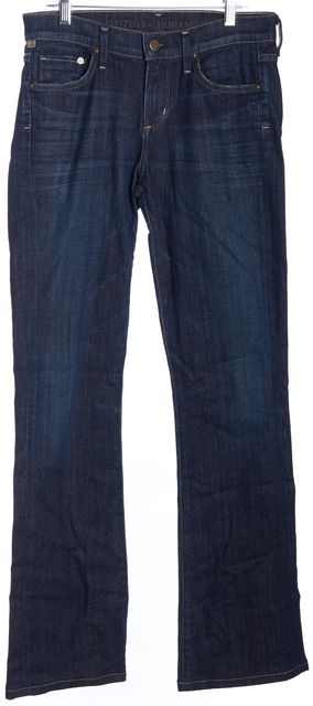 CITIZENS OF HUMANITY Blue Dark Wash Denim Amber Medium Rise Boot Cut Jeans