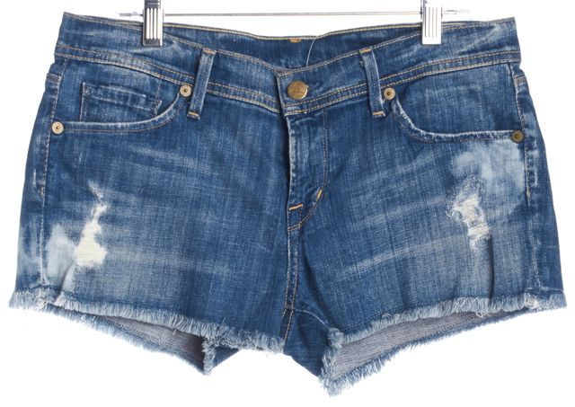 CITIZENS OF HUMANITY Blue Distressed Denim Shorts