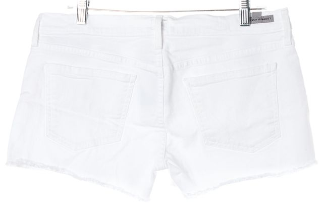 CITIZENS OF HUMANITY White Distressed Hem Button Front Denim Shorts