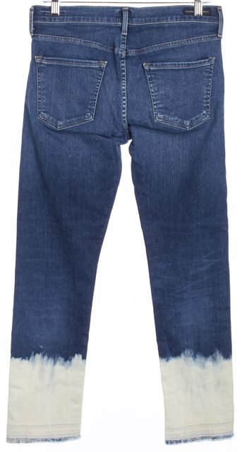 CITIZENS OF HUMANITY Blue Acid Washed Distressed Hem Straight Leg Jeans