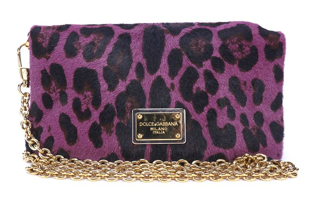 DOLCE & GABBANA Purple Black Leopard Calf Hair Crossbody Bag