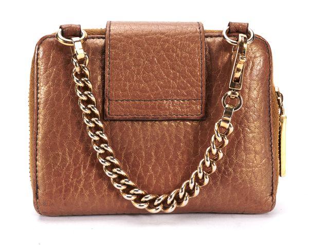 DOLCE & GABBANA Brown Metallic Leather Small Zip Around Chain Wallet
