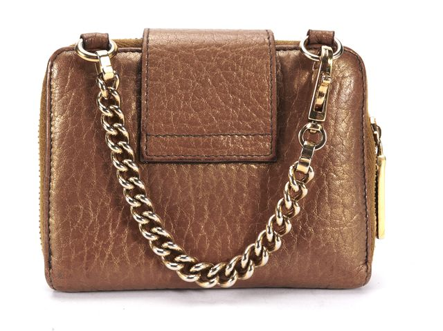 DOLCE & GABBANA Brown Metallic Leather Zip Around Chain Wallet