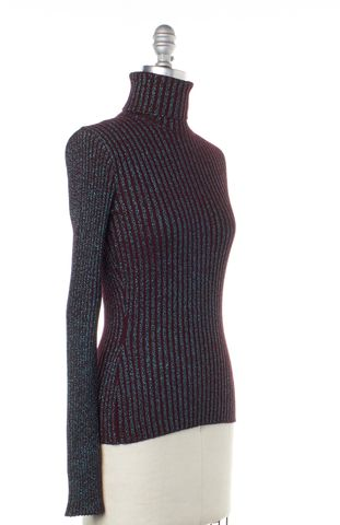 DOLCE & GABBANA Burgundy Blue Striped Wool Turtleneck Sweater Fits Like Sz 2