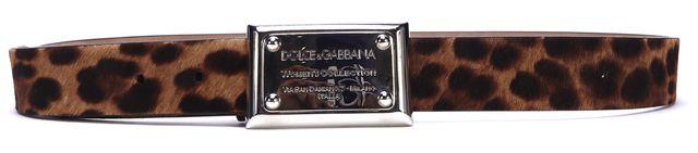 DOLCE & GABBANA Brown Calf Hair Leopard Print Silver Buckle Belt Size 34