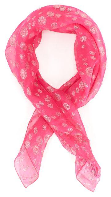 DOLCE & GABBANA Pink Silver Polka Dot Sheer Silk Scarf