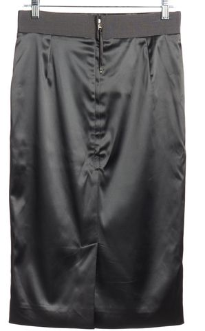 DOLCE & GABBANA Gray Satin Grosgrain Trim Pencil Skirt