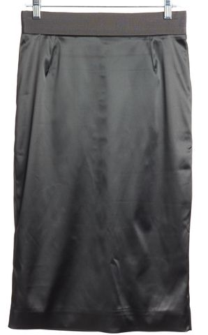 DOLCE & GABBANA Gray Satin Grosgrain Trim Pencil Skirt Size 6 IT 42