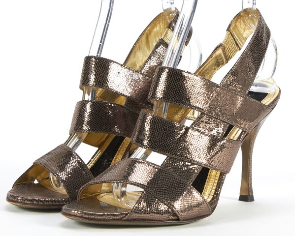DOLCE & GABBANA Silver Gold Leather Open-Toe Caged Slingback Heels Size 39