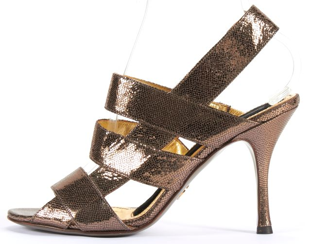 DOLCE & GABBANA Silver Gold Leather Open Toe Caged Slingback Heels