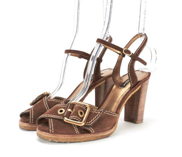 DOLCE & GABBANA Brown Suede Peep-Toe Criss-Cross Ankle Strap Heels