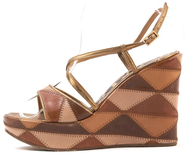 DOLCE & GABBANA Brown Patchwork Leather Open-Toe Wedge Sandals