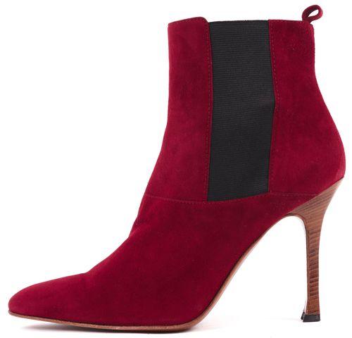 DOLCE & GABBANA Red Suede Contrast Elastic Wooden Stacked Heel Bootie