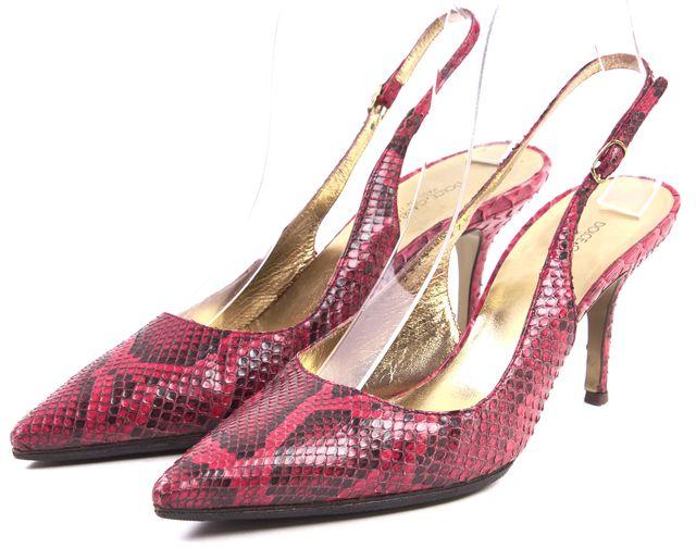 DOLCE & GABBANA Red Black Snake Skin Point Toe Sling Back Heel