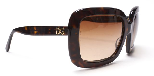 DOLCE & GABBANA Brown Tortoise Shell Square Frame Sunglasses