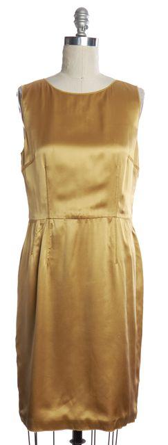 DOLCE & GABBANA Gold Silk Sheath Dress 10 IT 46