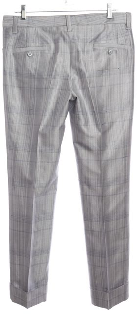 DOLCE & GABBANA Ice Blue Plaid Cuffed Slim Leg Dress Pants