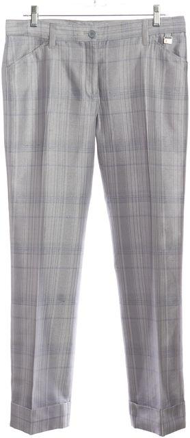 DOLCE & GABBANA Ice Blue Plaid Cuffed Slim Leg Dress Pants