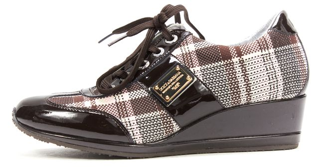DOLCE & GABBANA Brown Pink Textile Pl aidPatent Leather Wedge Sneaker