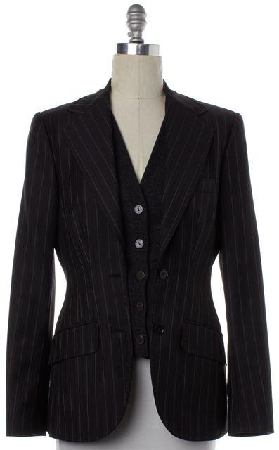 DOLCE & GABBANA Black Beige Pinstriped Wool Blazer Jacket