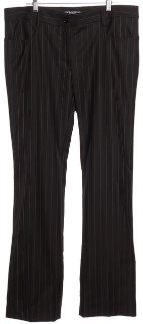 DOLCE & GABBANA Black Brown Striped Wool Dress Pants