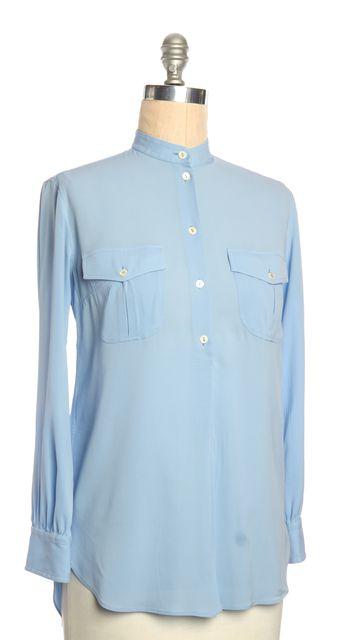 DOLCE & GABBANA Blue Mandarin Collar 1/2 Button Down Silk Blouse