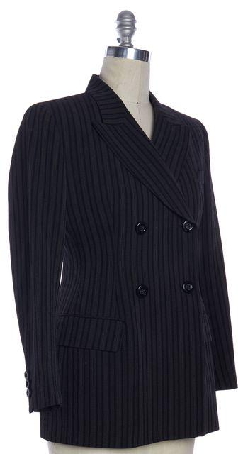 DOLCE & GABBANA Gray Black Striped Wool Double Breasted Blazer