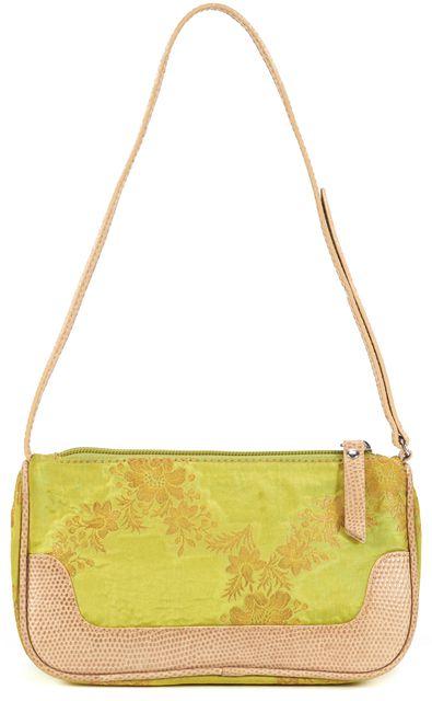 DOLCE & GABBANA Green Floral Jacquard Lizard Embossed Leather Shoulder Bag