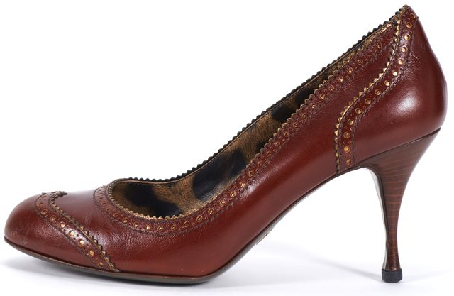 DOLCE & GABBANA Brown Leather Casual Round Toe Oxford Pump Heels