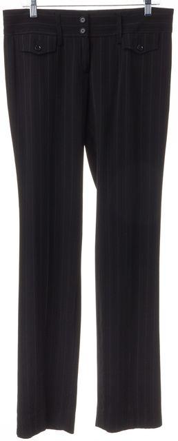 DOLCE & GABBANA Black Pinstriped Wool Trouser Dress Pants