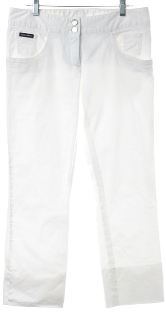 DOLCE & GABBANA White Cropped Stretch Cotton Casual Pants