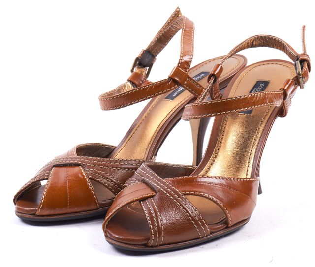 DOLCE & GABBANA Brown Leather Cross-Front Peep Toe Ankle Strap