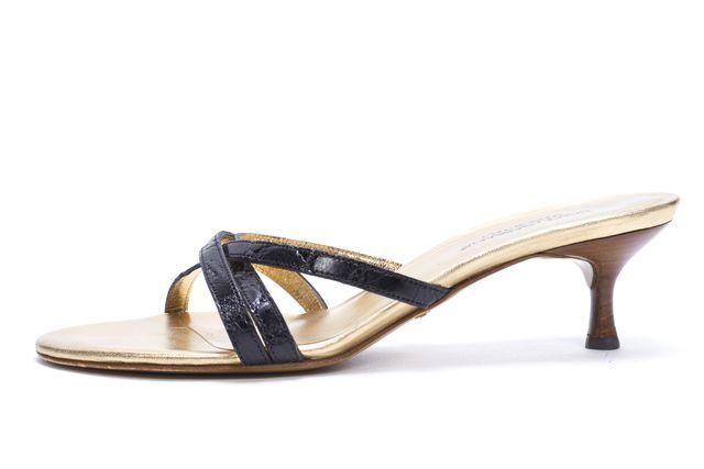 DOLCE & GABBANA Black Gold Leather Slide On Kitten Heel Sandals