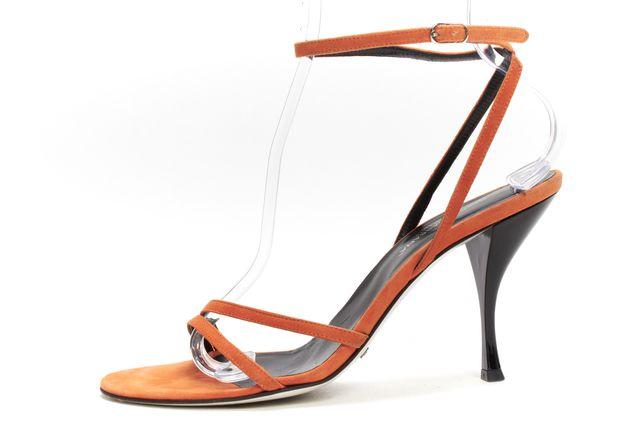 DOLCE & GABBANA Orange Suede Ankle Strap Sandals Heels