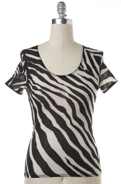 DOLCE & GABBANA Black White Animal Print Scoop Neck Casual Blouse Top
