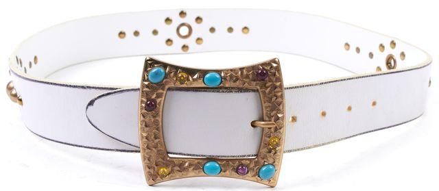 DOLCE & GABBANA White Leather Studded Belt