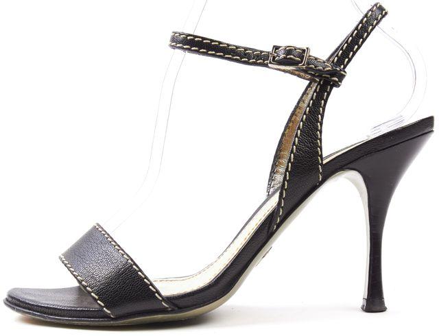 DOLCE & GABBANA Black Leather White Stitching Ankle Strap Sandal Heels