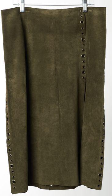 DOLCE & GABBANA Green Suede Grommet Embellished Straight Skirt