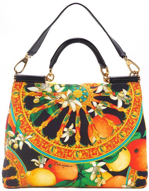 DOLCE & GABBANA Multi Soft Canvas Print Leather Handles Miss Sicily Satchel Bag