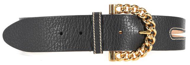 DOLCE & GABBANA Black Pebbled Leather Gold Tone Buckle Belt