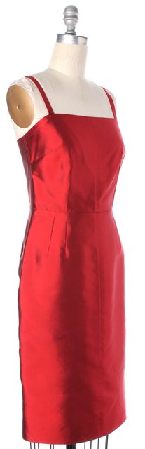 DOLCE & GABBANA Red Iridescent Silk Square Neck Sheath Dress