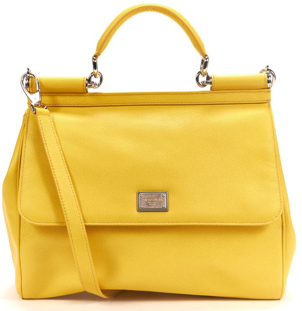 DOLCE & GABBANA Canary Yellow Saffiano Leather Miss Sicily Satchel Shoulder Bag