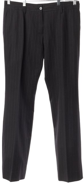 DOLCE & GABBANA Black Red Striped Wool Pleated Dress Pants
