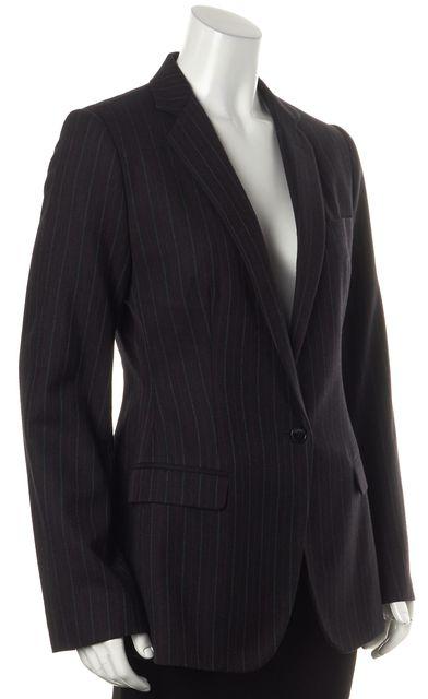 DOLCE & GABBANA Black Red Gray Striped Wool One Button Basic Jacket