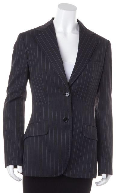 DOLCE & GABBANA Black Blue Pinstriped Wool Two Button Blazer