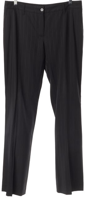DOLCE & GABBANA Black Red Striped Pleated Trouser Dress Pants