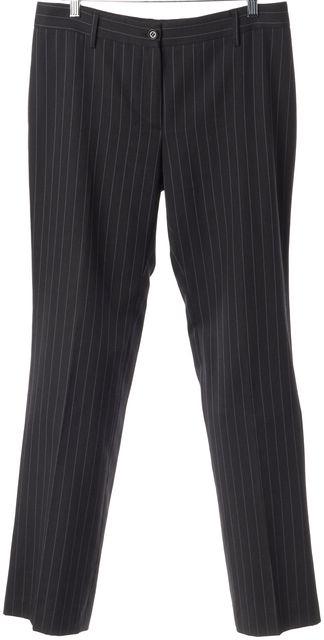 DOLCE & GABBANA Gray Blue Pinstriped Wool Pleated Trouser Dress Pants