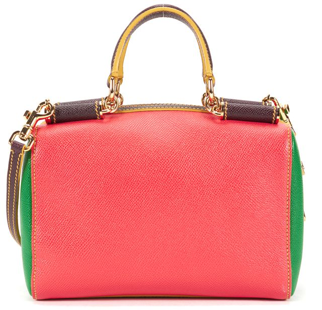 DOLCE & GABBANA Coral Green Textured Leather Mini Miss Sicily Tote Bowler Bag