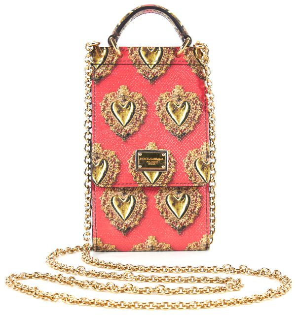DOLCE & GABBANA Red Gold Heart Printed Pebbled Leather Phone Carrier Crossbody